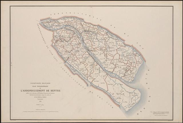 Bản đồ địa hình Hạt BẾN TRE 1882 - Plan topographique de l'Arrondissement de Bentre