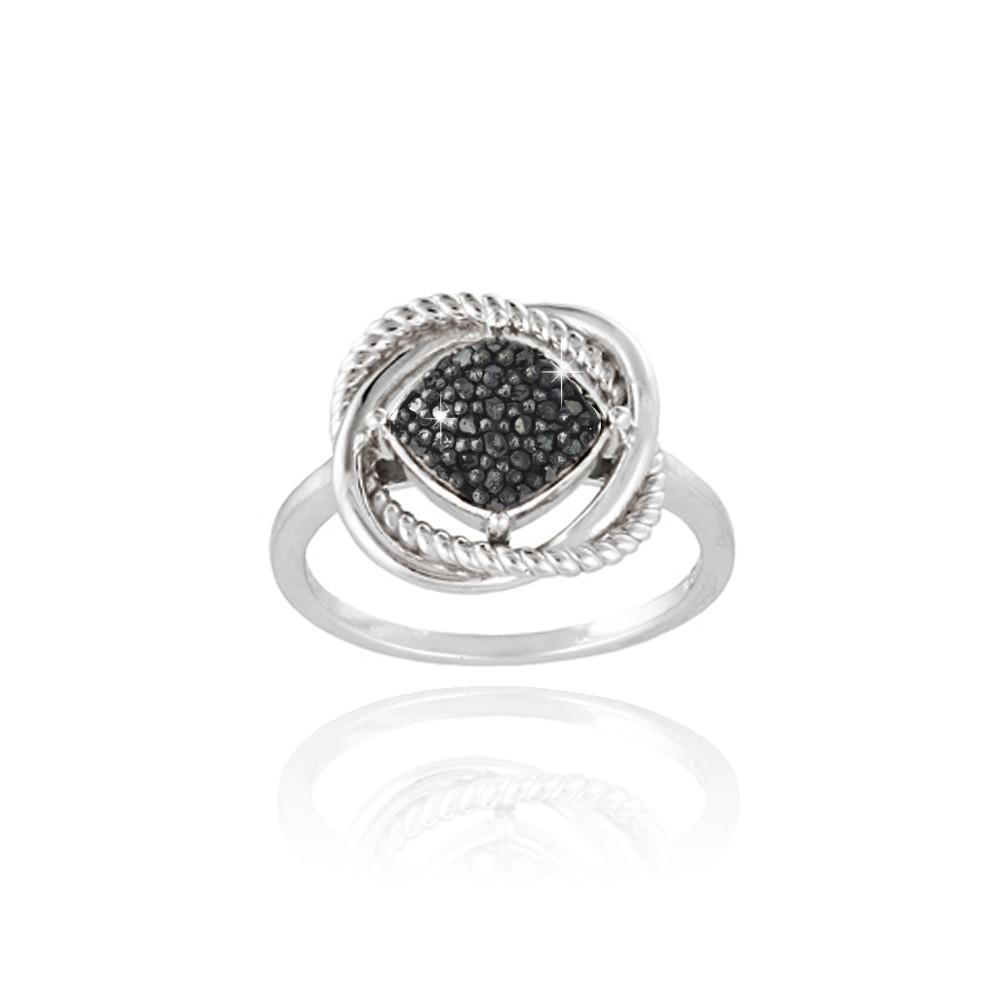 925er silber 1 4ct schwarzer diamant liebesknoten ring gr e 8 ebay. Black Bedroom Furniture Sets. Home Design Ideas