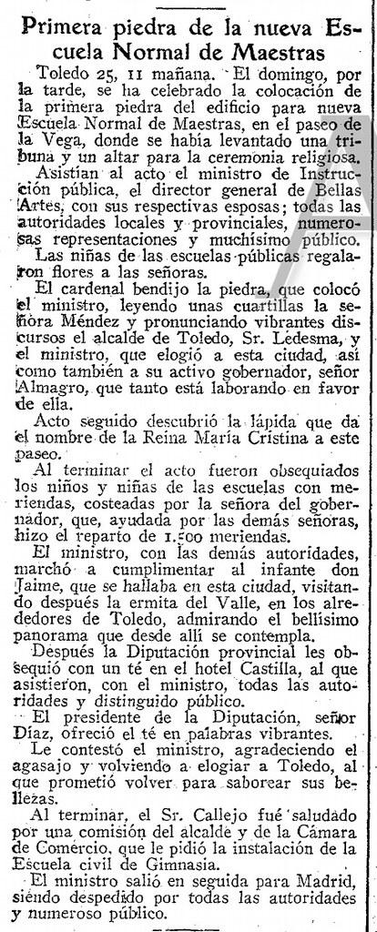 Noticia de la colocación de la primera piedra de la Escuela Normal de Magisterio de la Vega en el diario ABC del 26 de marzo de 1929