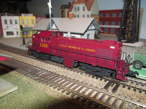 A Gulf, Mobile & Ohio Railroad Alco RS 1 roadswitcher passes the depot at Stocton. by Eddie from Chicago
