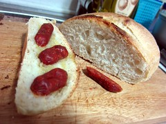 Home bread with chorizo