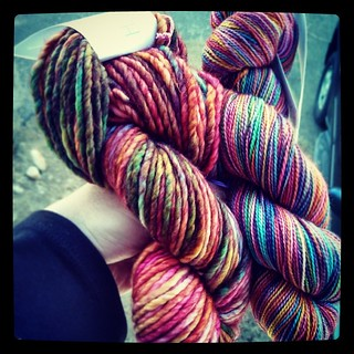 Happy #yarn mail #Madelinetosh limited edition @jimmybeanswool color #TechnicolorDreamcoat #love #knitstagram #stashenhancement