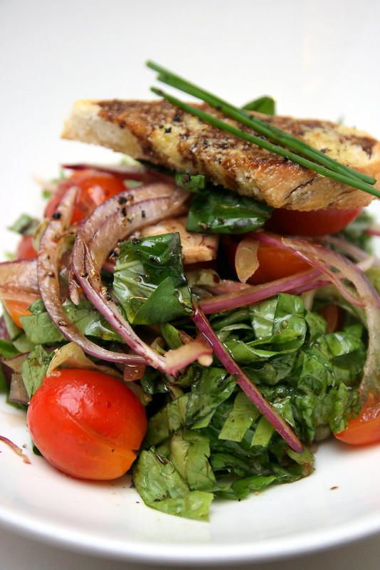 "Tuscan ""panzanella"" salad with fresh basil, lettuce, roma tomatoes"