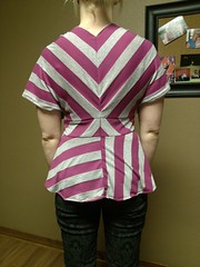 self-draped knit striped top. serged together. I wanted to manipulate the stripes to make the design more interesting. #wardrobechallenge