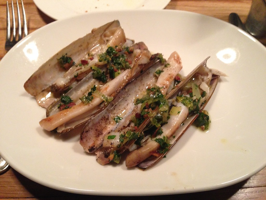 Razor clams with bacon vinaigrette