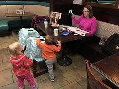 The twins and I come into the restaurant from outside this evening and find Kate talking with Amber