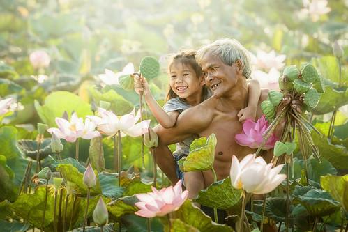 Thai Farmer and Children