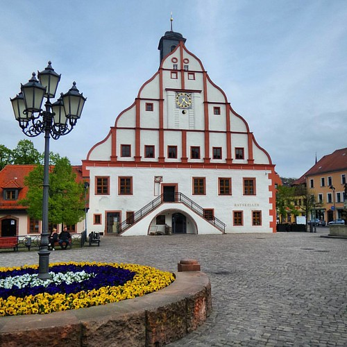 The beautiful City Hall of the town Grimma in Saxony.  . At the flood in the year 2002 was the first floor under water.  . And the hole City Center of Grimma. . Ten years later came again the flood. .. . . .