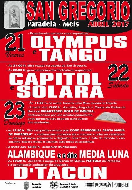 Meis 2017 - Festas San Gregorio en Paradela - cartel