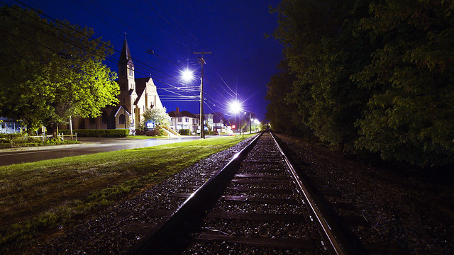 SI - May 21, 2013; Front Street at Night; Waterville, Maine
