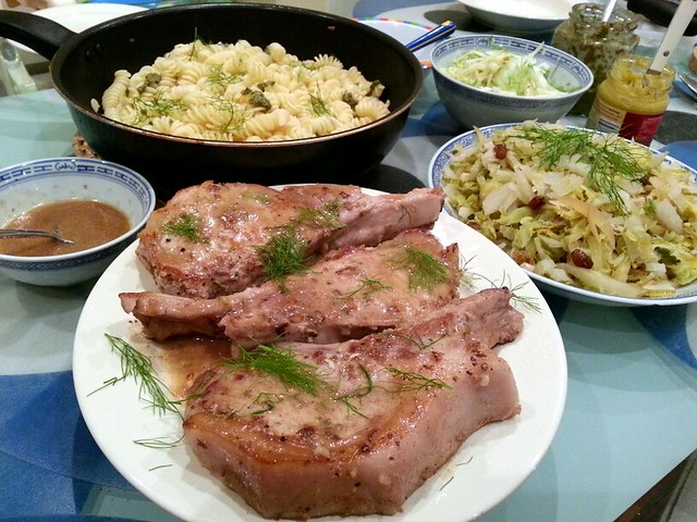 Pork chops with fennel seeds, braised cabbage with bulb fennel and ...