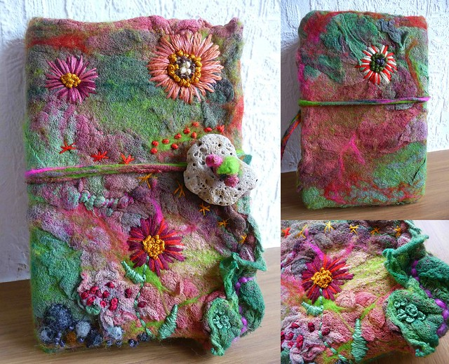 Handmade Felt Book Cover : Felted notebook cover felt sketchbook handmade