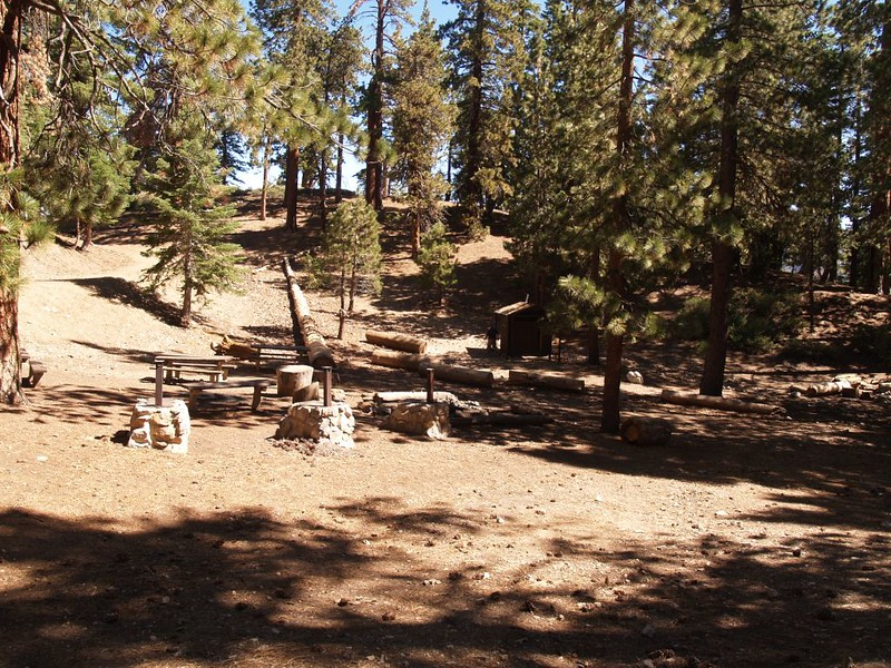 Little Jimmy Campground campsites, complete with Shepherd Stoves and wooden latrines