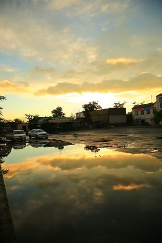 sunset reflection russia r ulanude