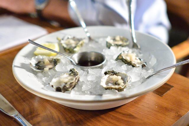 1/2 dozen oysters, pear mignonette