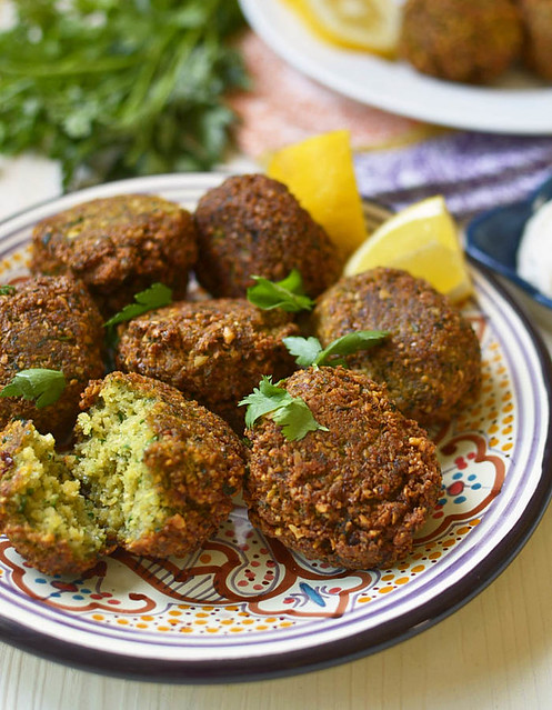 Traditional falafel recipe is full of fresh bright herbs and warm spices that is perfectly fried and tender in the middle.