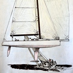 From my sketchbook: 40\' sailboat design number 527