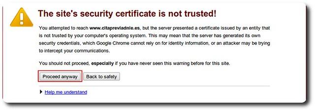 Error con el certificado