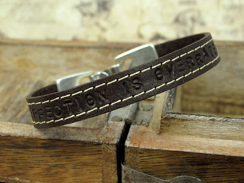 Leather bracelet with text