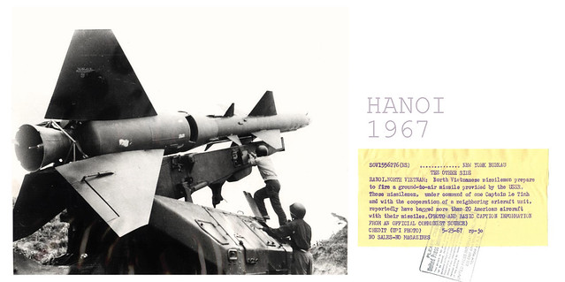 HANOI 1967- North Vietnamese missilemen prepare to fire ground-to-air missile, provided by USSR, near Hanoi