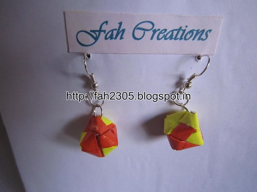 Handmade Jewelry - Origami Paper Box Earrings (Small) (2) by fah2305