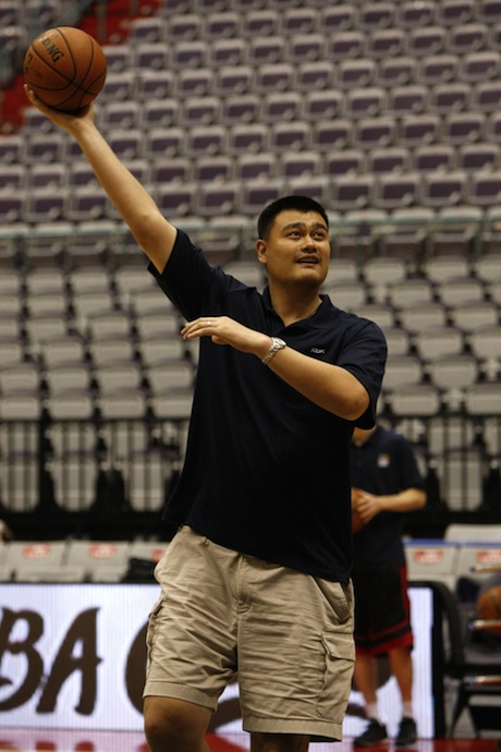 October 12th, 2013 - Yao Ming shoots a hook shot in Taipei, Taiwan