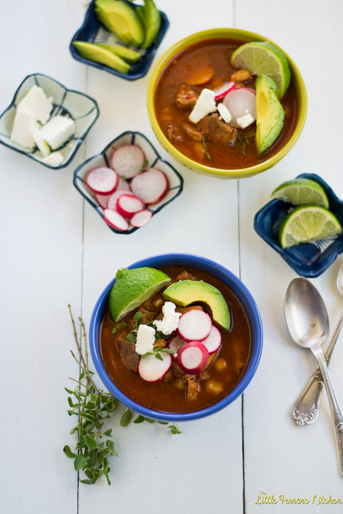 Pozole Rojo (Mexican Stew with Pork and Hominy) via LittleFerraroKitchen.com