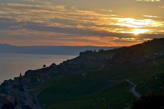 Sunset over the Lavaux vineyards on Lac Léman
