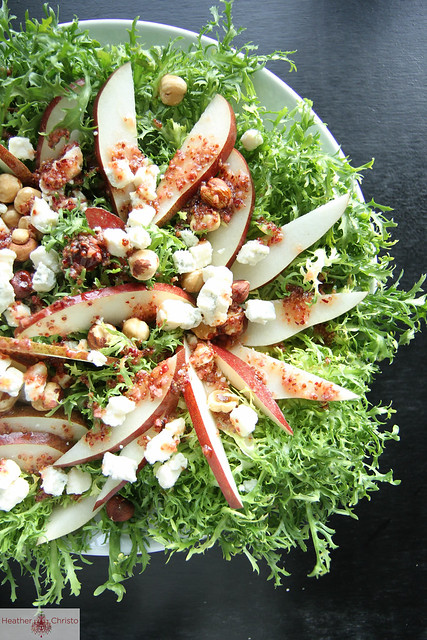 Frisee and Pear Salad with Cranberry Mustard Vinaigrette