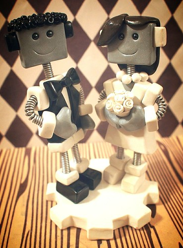 Commission: Robot Cake Topper Classic Style with Hair by HerArtSheLoves
