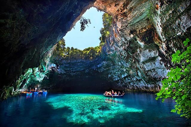 Turquoise Cave, Melissani Lake, Greece [800x533]