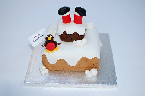 Silly santa christmas cake beautiful birthday cakes Santa stuck in chimney cake