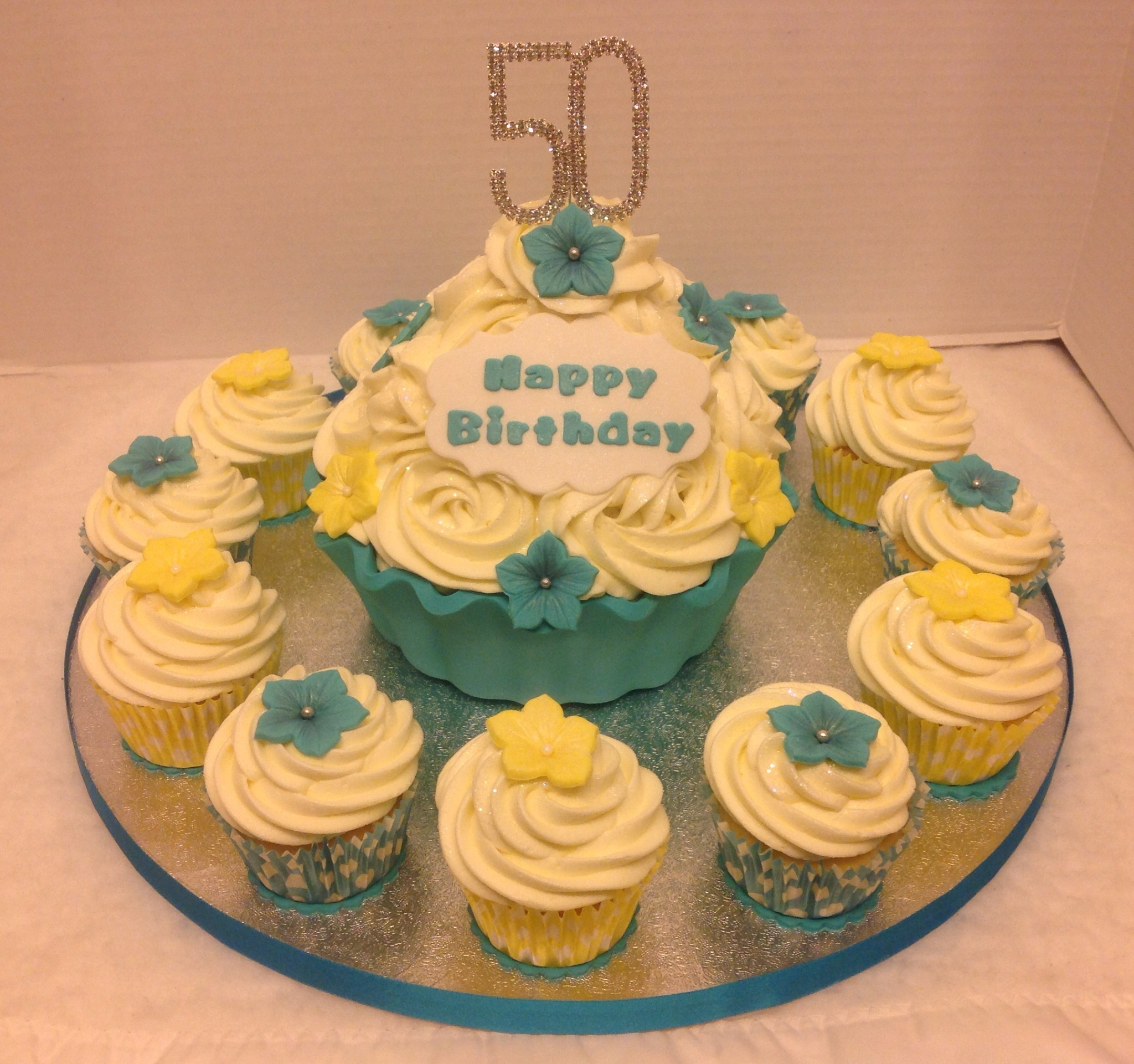 Cupcake Decorating Ideas For 50th Birthday : Giant Cupcake for 50th Birthday Flickr - Photo Sharing!