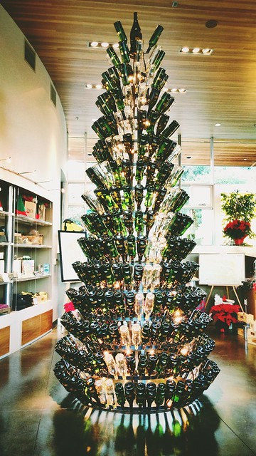 christmas tree made of empty wine bottles at twomey cellars, healdsburg #Yahoo12Days