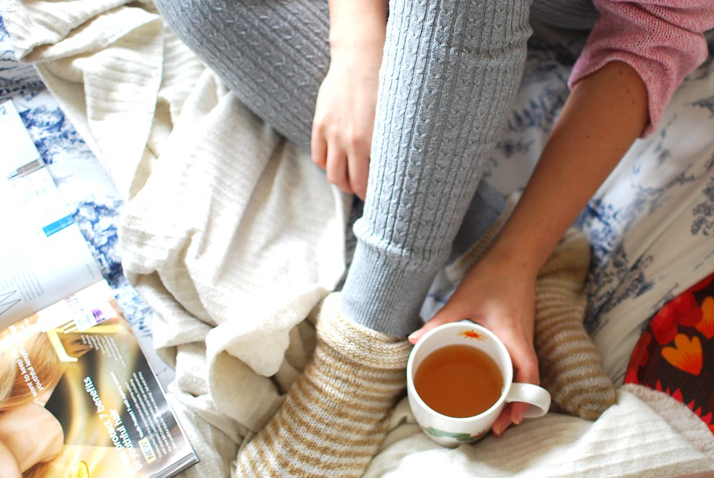 chambray and curls bed sunshine leggings and cozy socks green tea and magazines reading casual comfy