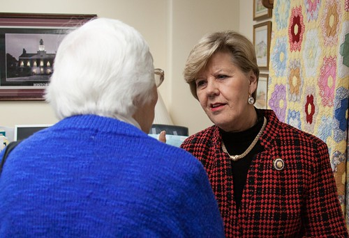 Dorie Hubbard talks with Rep. Rita Smart during Voting Rights Lobby Day 2014