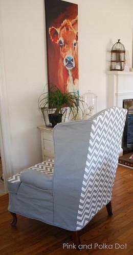 Gray Chevron Wing Chair Slipcover Pink Amp Polka Dot