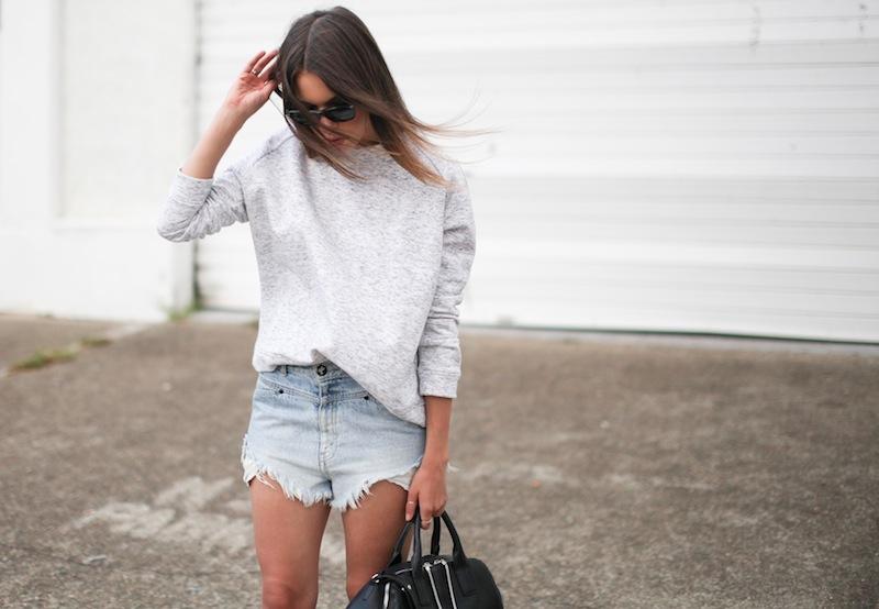 modern legacy fashion blogger Australia street style one teaspoon cutoff denim shorts heather grey sweatshirt suede ankle boots alexander wang jamie chastity bag  (9 of 10)