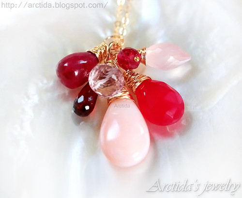 Aine - Garnet Pink Opal Red Chalcedony Rose Quartz Ruby necklace 14K gold filled ombre necklace. Handmade jewelry by Arctida.
