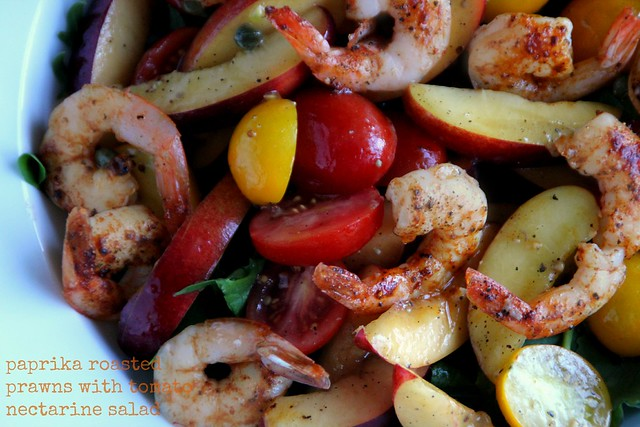 Paprika Roasted Prawns with Tomato Nectarine Salad 1