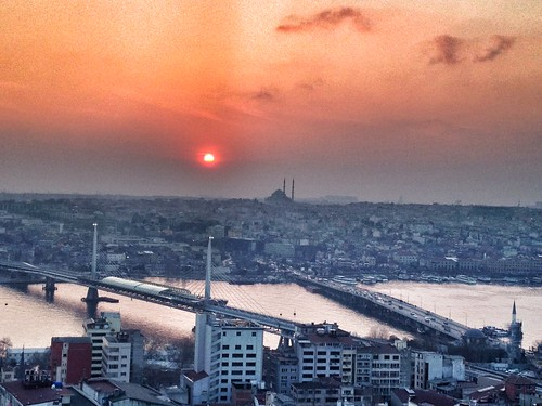 Sunset view from the galata tower in istanbul