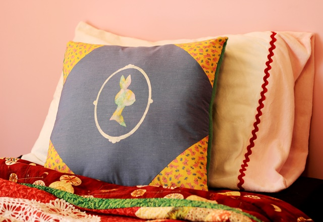 handmade Victorian-style bunny/lady cameo pillow by Dagny Stangl