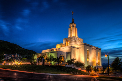 blue light sunset color yellow architecture clouds temple lights utah view sunsets cannon mormon bluehour lds hdr starburst draper postsunset ldstemples drapertemple hdrprocessing canoneosrebelt3i