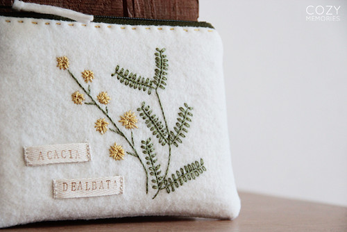 Acacia dealbata zipped pouch