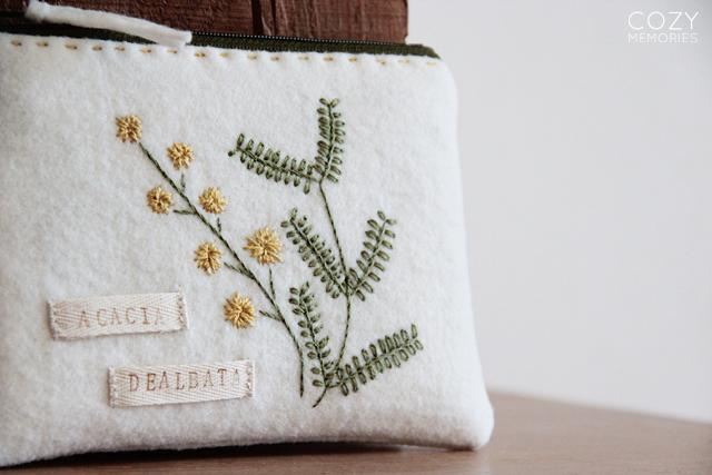 Acacia dealbata zipped pouch