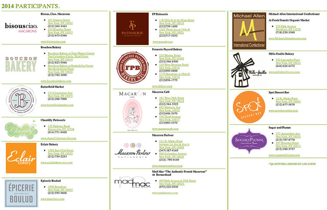 macaron day 2014 - participating locations