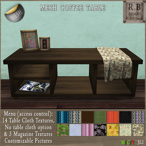 NEW ON SALE ! *RnB* Mesh Dakota Coffee Table Walnut - 14 Table Cloths (c)