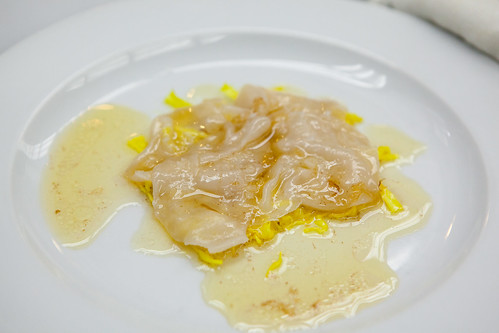 Chef Matthew Lightner of Atera Pickled cabbage and scallop carpaccio