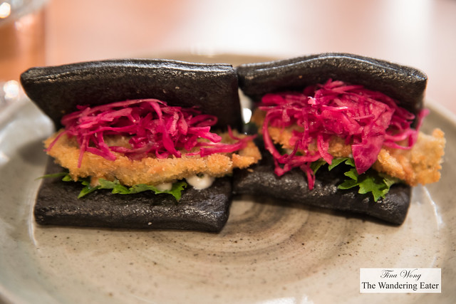 Squid ink oyster baos, norioli, shiso, purple cabbage