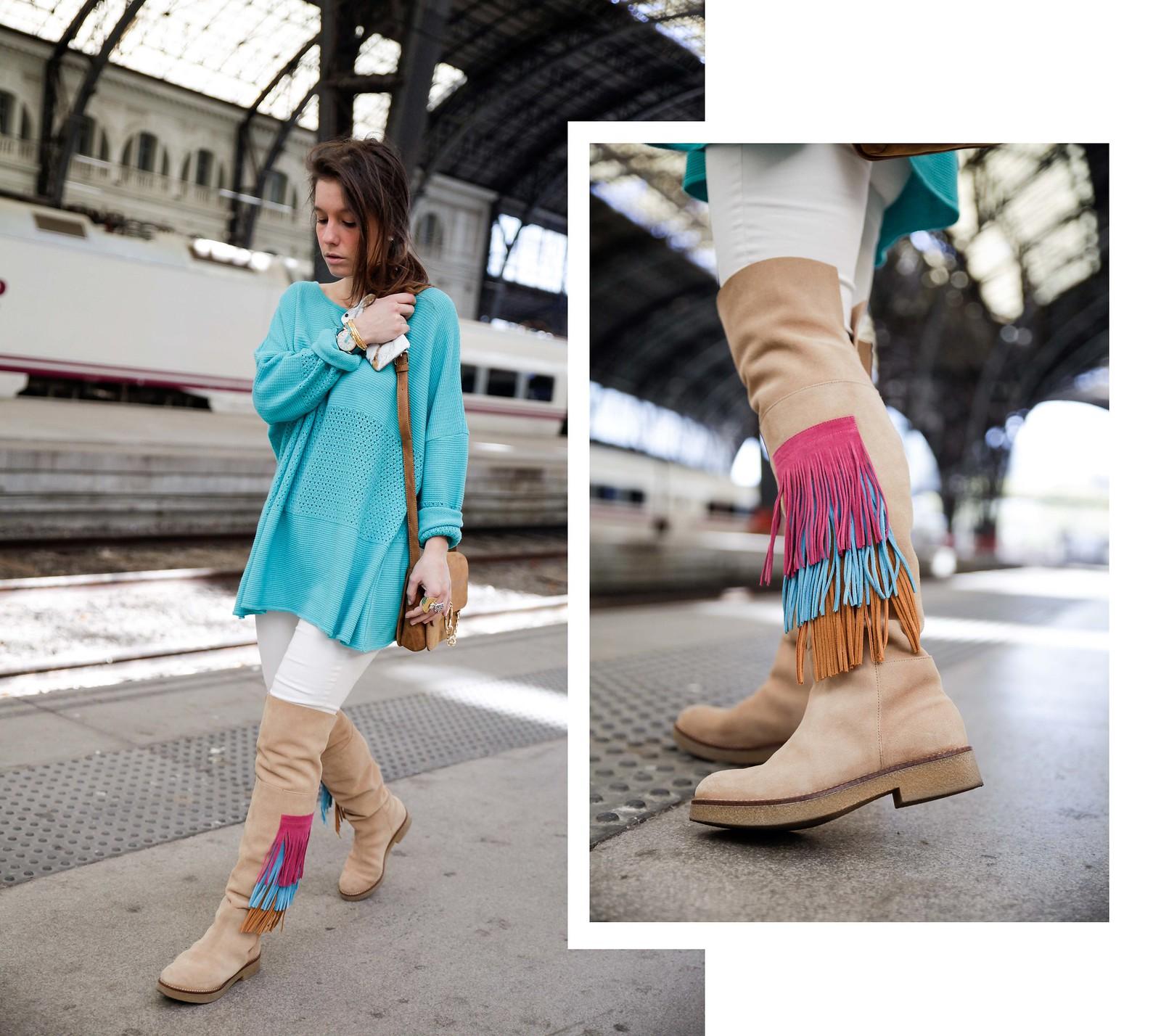 011_como_combinar_la_ropa_verde_turquesa_ideas_look_street_style_theguestgirl_ruga_boots_fringes_barcelona_influencer_top_blogger